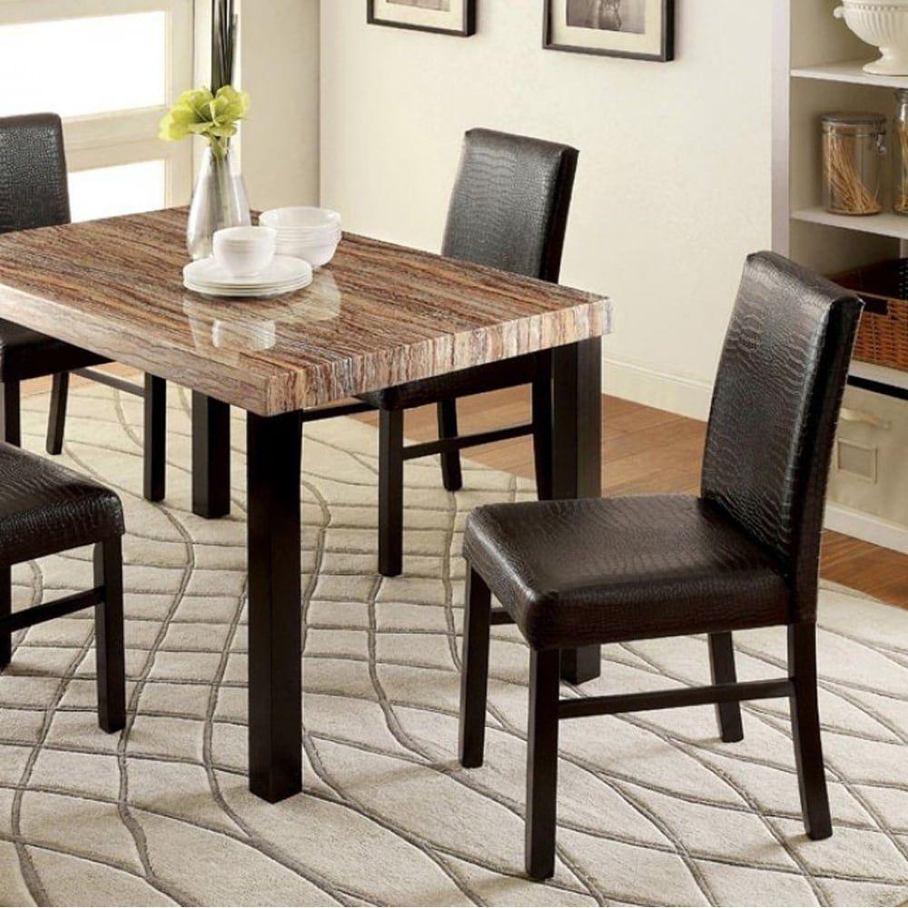 Benzara Rockham I Black Wood Faux Marble Dining Table