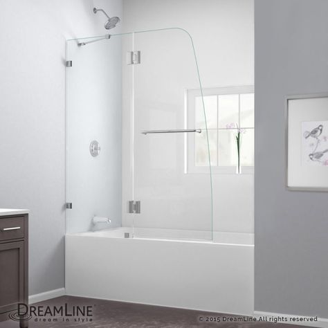 "Luxury DreamLine SHDR 01 Chrome AquaLux 58"" High x 48"" Wide Hinged Frameless Tub Door with Clear Glass - Beautiful bathtub glass enclosure Ideas"