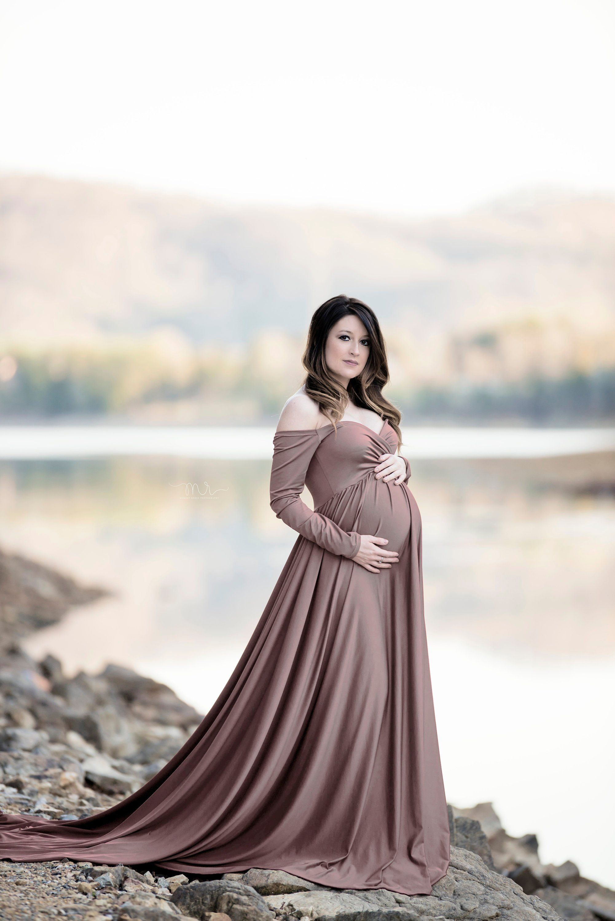 b6fb5427de5f0 Darah Mocha Maternity Dress,Off Shoulders, Long Sleeves Maternity, Baby  Shower, Bridesmaids, Photo Prop Dress / Grown , half circle by SilkFairies  on Etsy