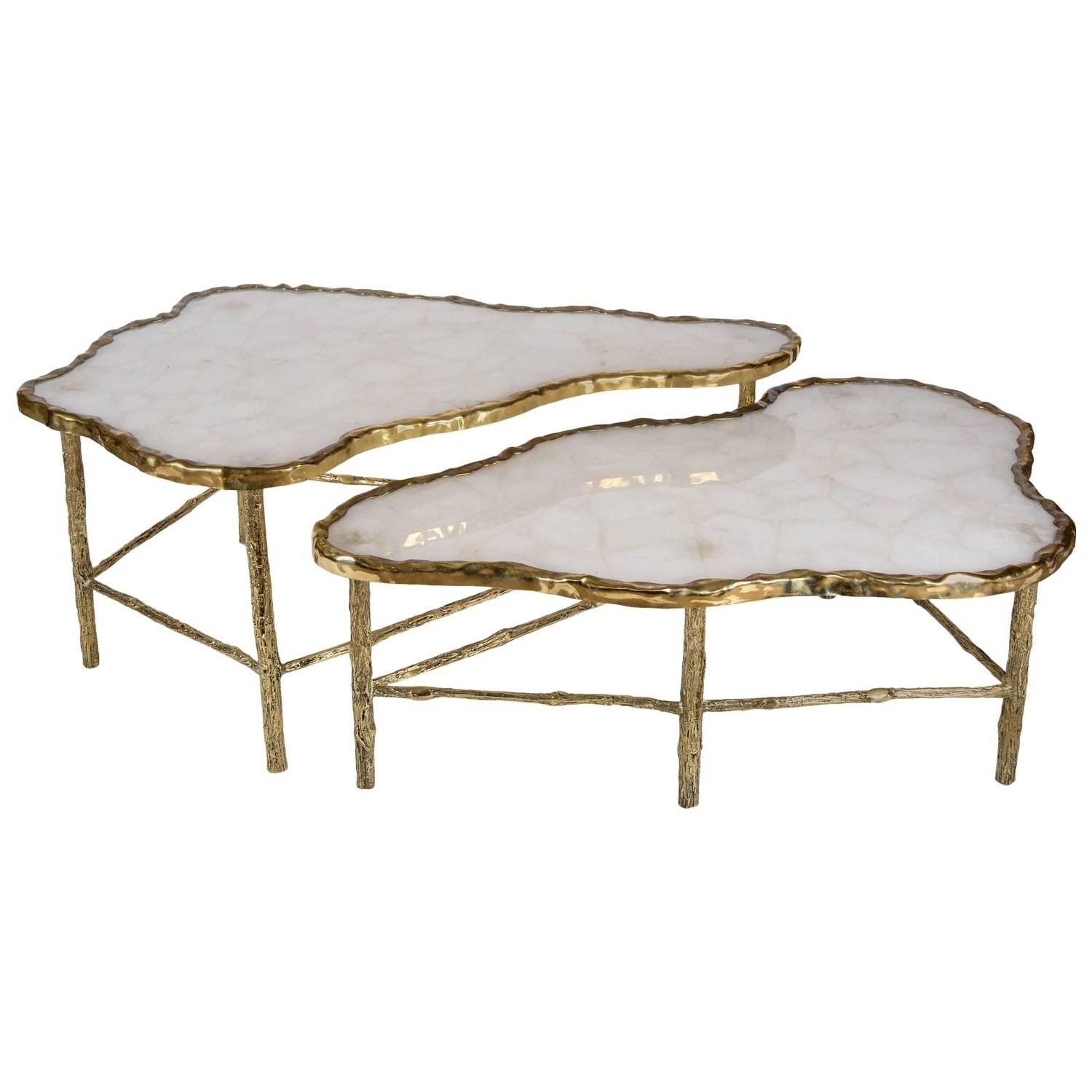 d990ef1cc9c30 Fabulous Pair of Rock Crystal Coffee Tables 1