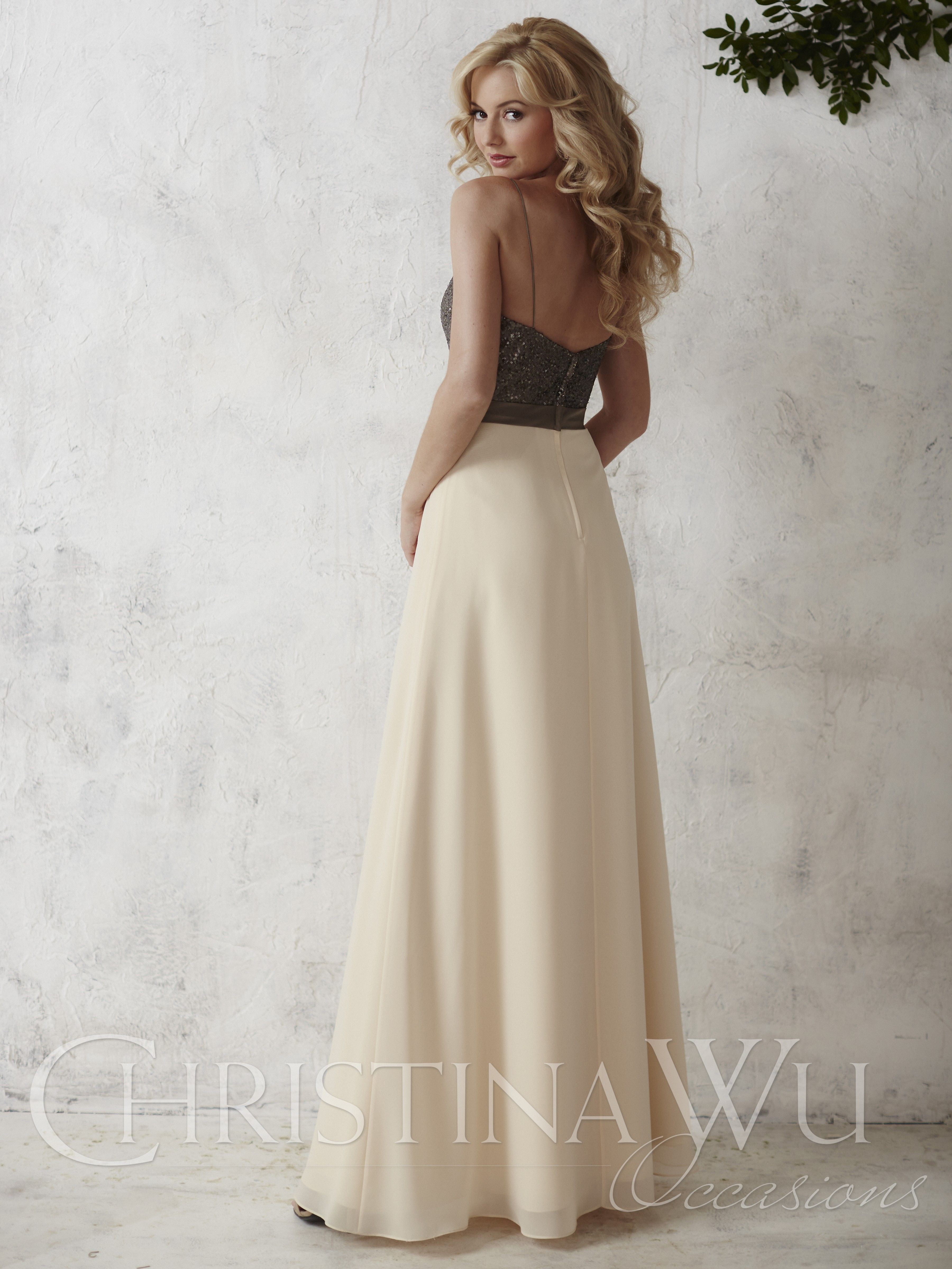 98ccd8a96c The Christina Wu Occasions 22666 bridesmaid dress has a glittering A-line  silhouette