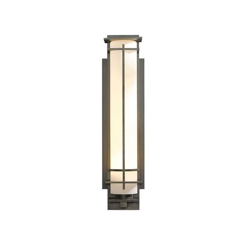 After Hours Natural Iron 6.5-Inch One-Light Outdoor Wall Sconce with Opal Glass - (In 20 - Natural Iron)