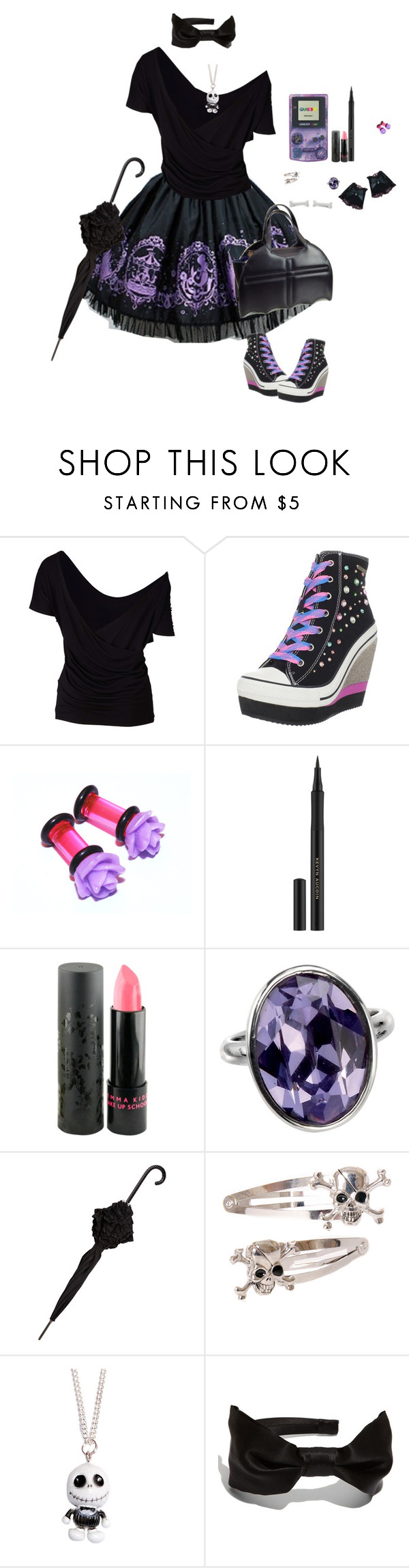 """""""Sem título #481"""" by caaandy ❤ liked on Polyvore featuring Sud Express, Rock & Candy, Kevyn Aucoin, Jemma Kidd, Mimco, Kreepsville 666 and L. Erickson"""