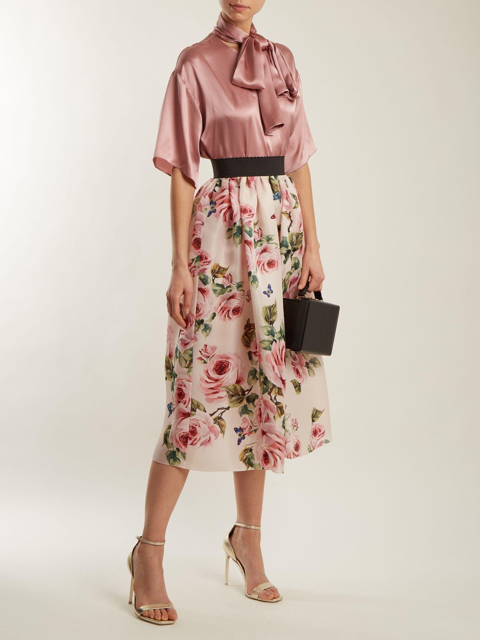 ca06b829bc7c Rose and butterfly-print silk-organza skirt | Dolce & Gabbana |  MATCHESFASHION.COM