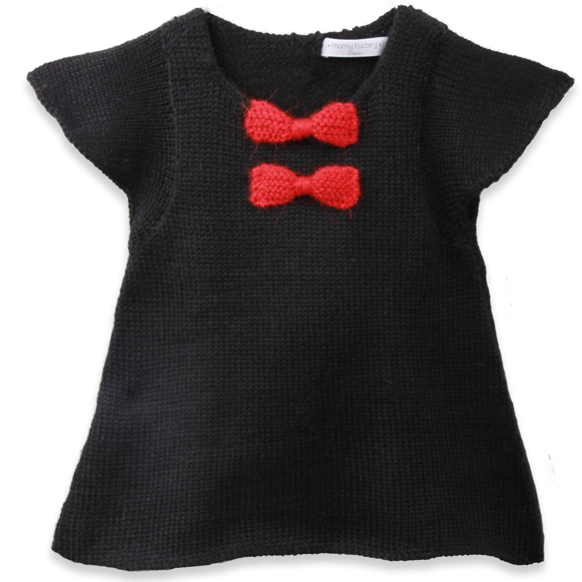 Robe Bébé Fille Noire Avec Noeuds Rouge En 100 Laine D