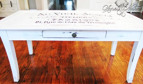Table upcycle by Anew Nature St Louis MO French Shabby Chic white coffee table lettering design