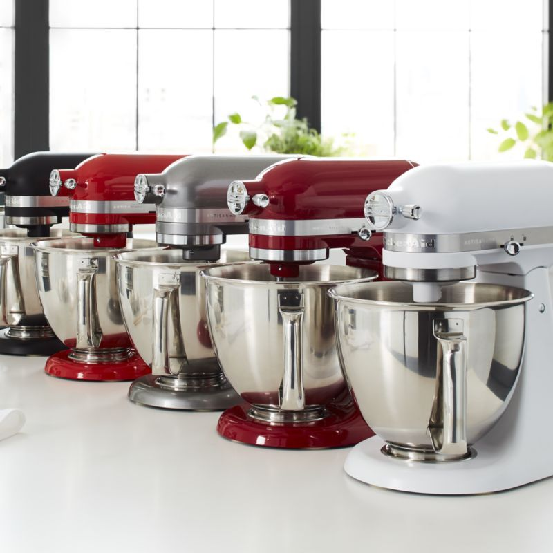 Kitchenaid Artisan White Mini Mixer With Flex Edge Beater Reviews Crate And Barrel Kitchenaid Artisan Kitchen Aid Mixer