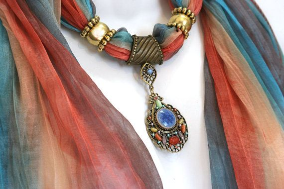 Scarves With Jewelry Pendant Scarfs by RavensNestScarfJewel, $25.00