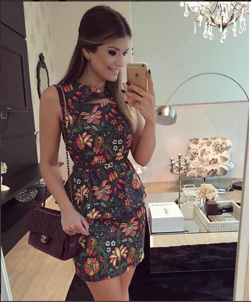 63bffa71e 2016 New Moda feminina Vestidos Verão Chiffon manga comprida vestido de  renda…