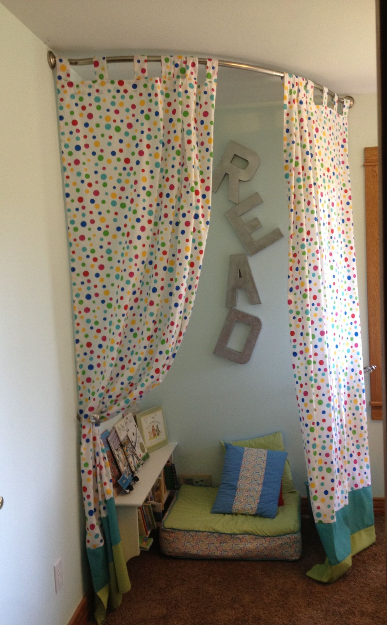 I finally finished the kids reading nook area in our homeschooling
