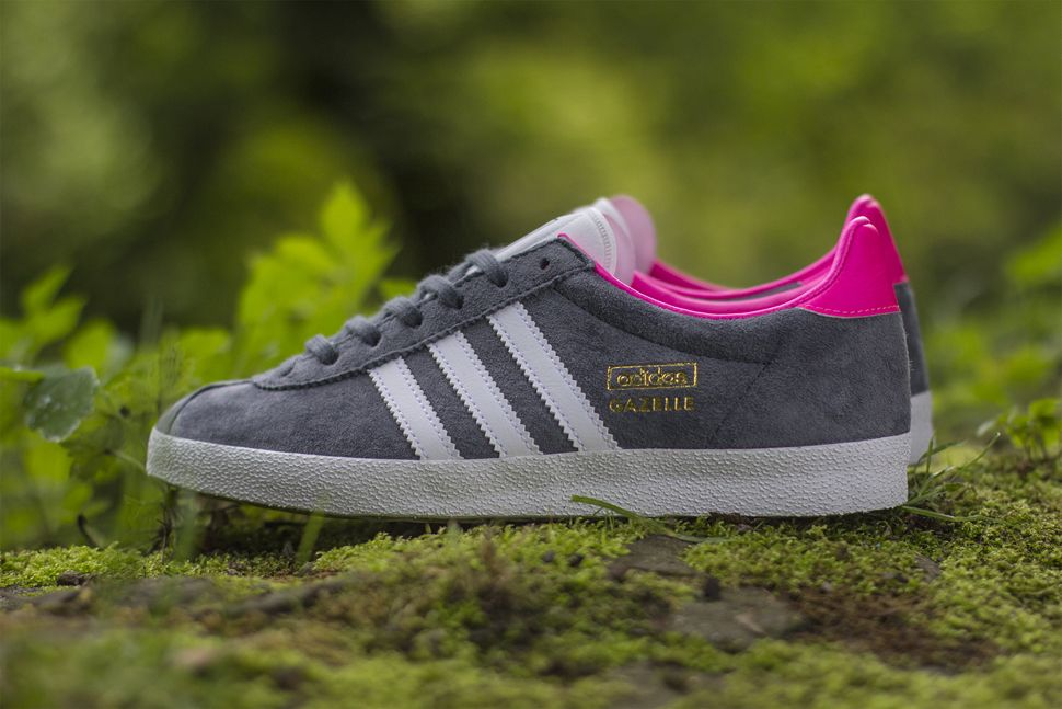 adidas gazelle og womens grey and pink