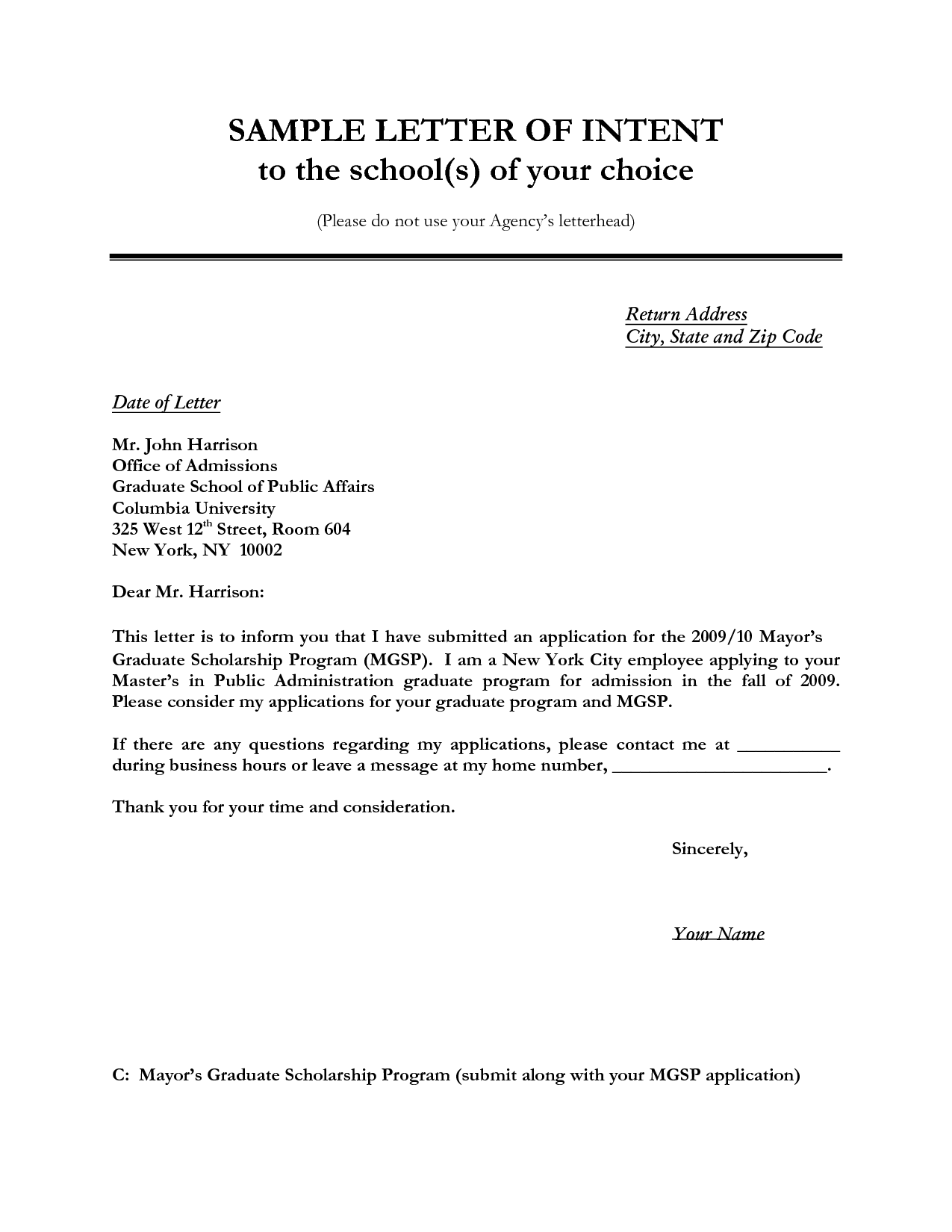 Letter Of Intent Sample  KalushvideoCom  Sample Letter Of