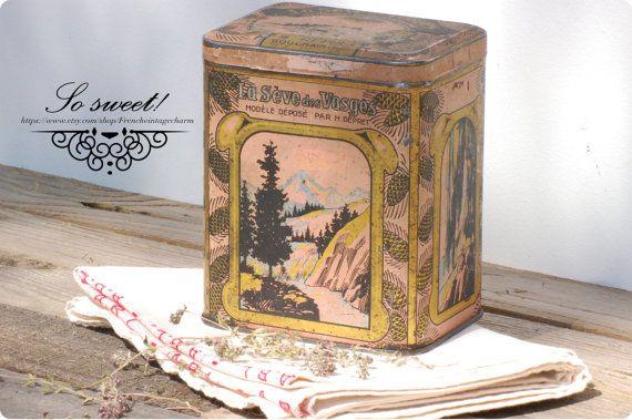 French vintage charming tin box pink and par Frenchvintagecharm #Vintage#Etsy#Brocante#Flea market#Frenchvintagecharm#Storage#Tin box#Gold#or#Antic#retro#boîte métal#pink