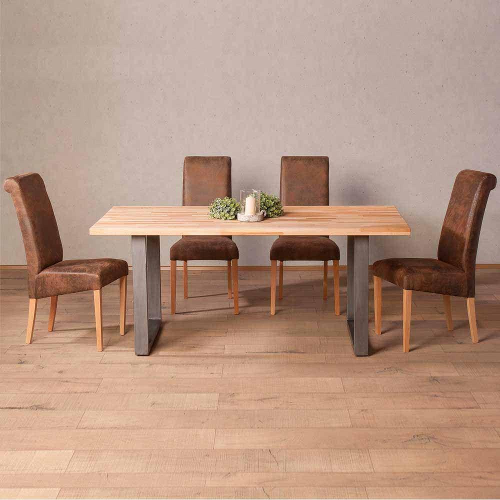 Esstisch mit Stühlen aus Buche Massivholz Braun Kunstleder (5-teilig ...