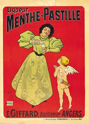 Menthe Pastille first Ad poster by MITZI (1895)