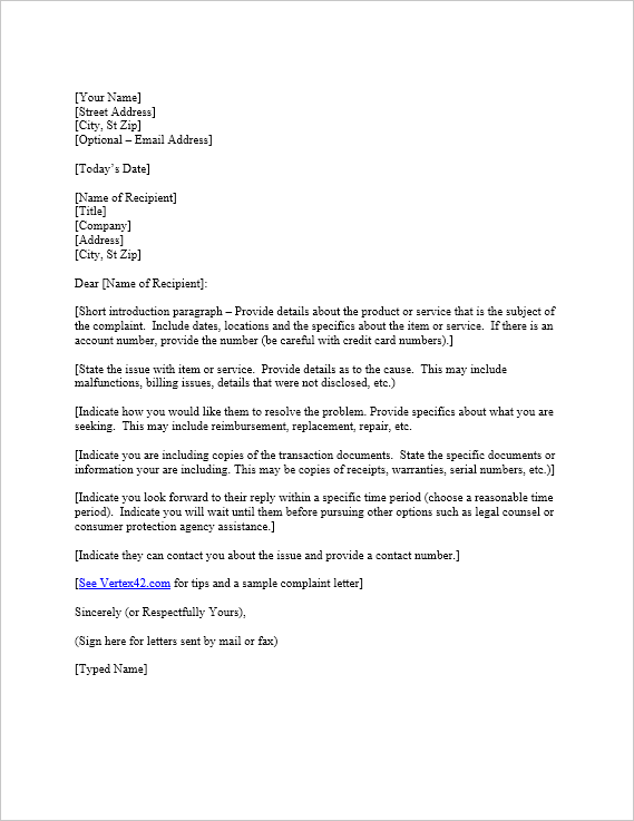 Just Downloaded A Useful Free Complaint Letter Template From Vertex42 Com Letter Templates Letter Templates Free Cover Letter Template Free