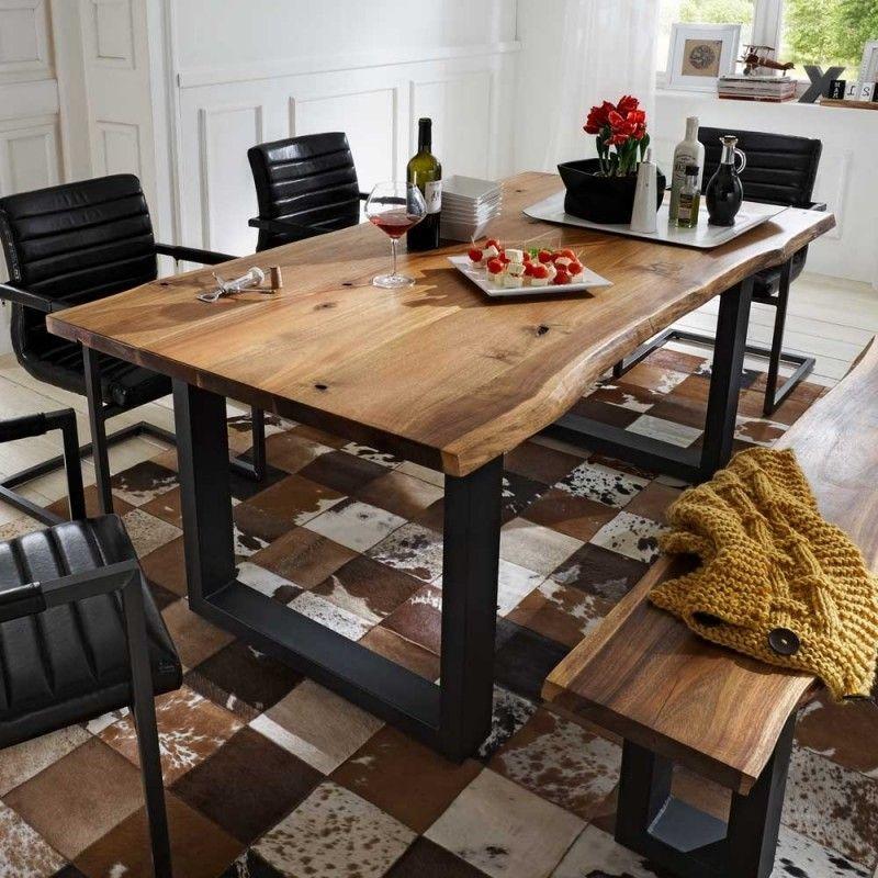 Baumkantentisch Jevilia Aus Massivem Akazienholz Esszimmertisch Kuche Tisch Tisch