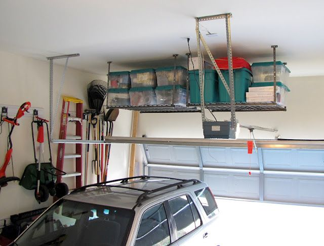 Hang Shelf From Garage Ceiling To Seasonal Items I E Christmas Decorations