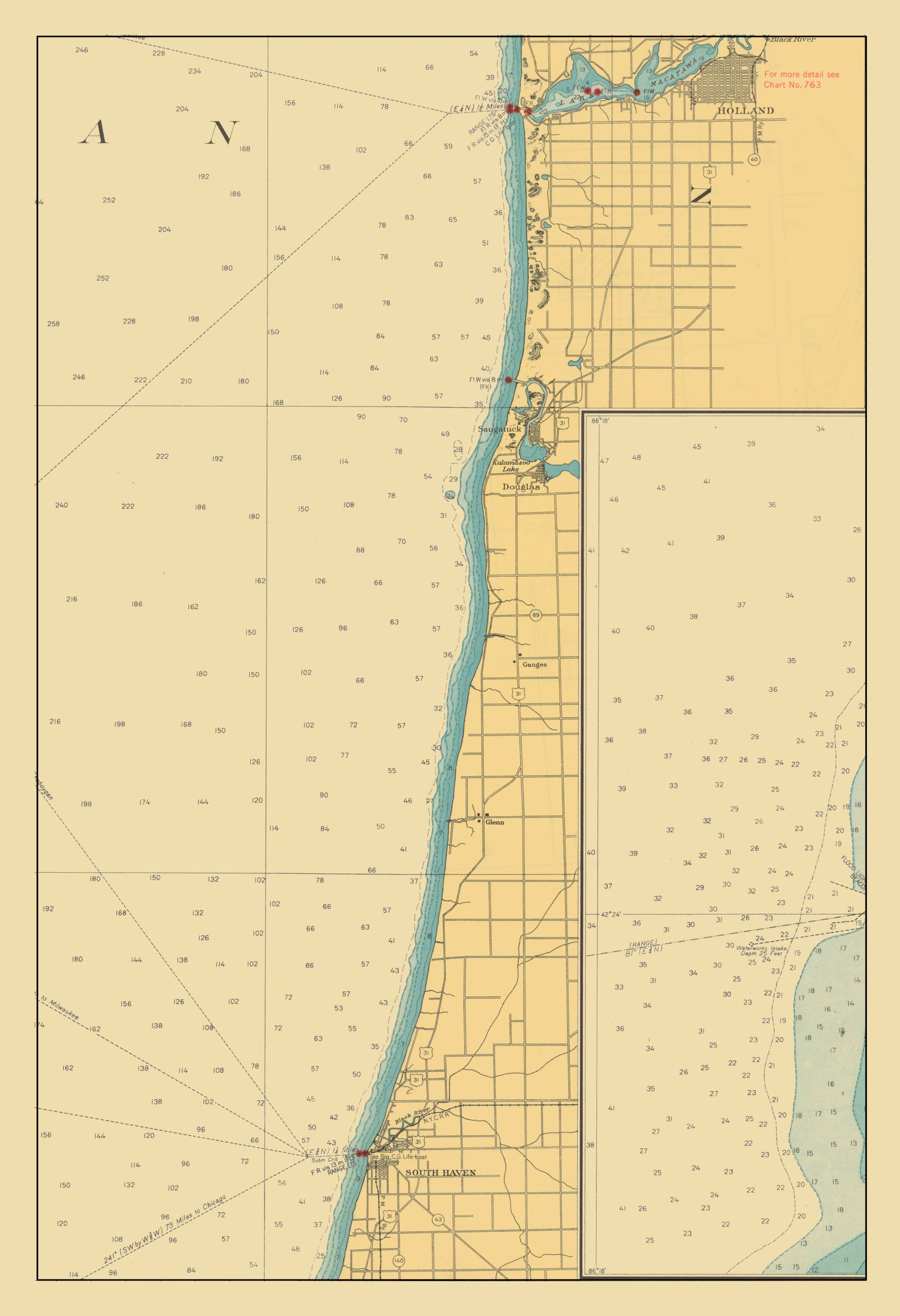 Lake Michigan map Lake Macatawa to South Haven 1947