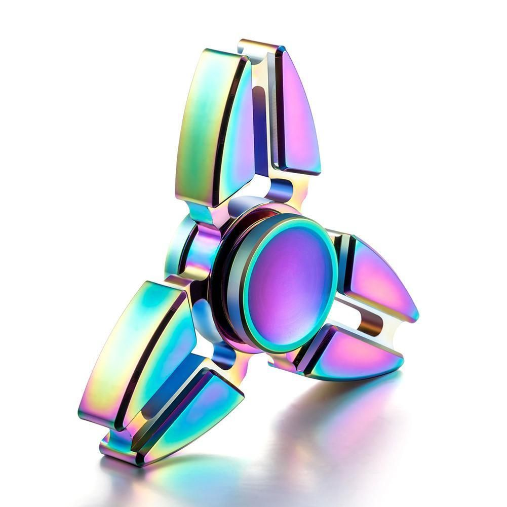 Tri Fidget Hand Spinner Finger Triangle Focus Metal Spin Bearing ADHD Autism Toy