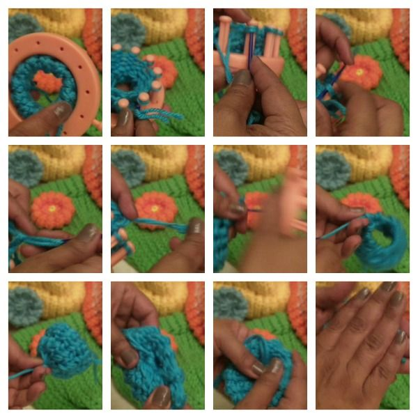 How to Loom Knit a Flower. Very Easy Free pattern, video and picture tutorial. Use 12-peg flower loom or 24-peg loom