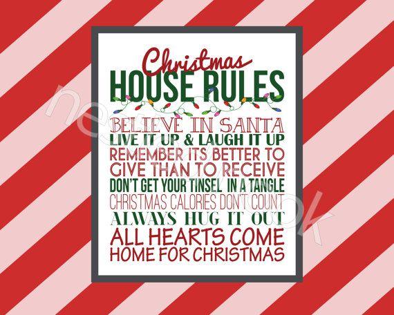 Christmas house rules digital print christmas gift by NestledNook ...