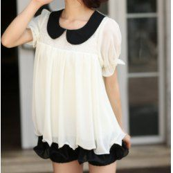 Short Sleeve Peter Pan Collar Color Block Ruffled Floral Print Chiffon T-shirt For Women