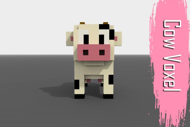 voxel cow low poly 3d model max c4d obj 3ds fbx lwo stl 3dexport com by w freixo
