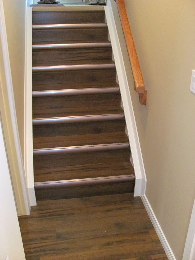 Laminate On Stairs With Cool Tread Trim Basement Ideas