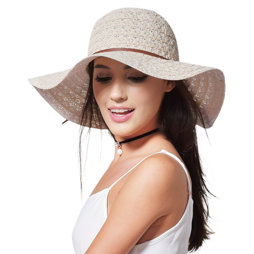Summer Beach Sun Hats For Women - FURTALK UPF Woman Foldable Floppy Travel  Packable UV Hat 8a30169e658