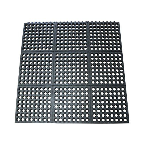 Rubber Cal 03 122 Int Bk Dura Chef Commercial Interlock Https Www Amazon Com Dp B00s07ttj8 Ref Cm Sw Drain Tile Water Resistant Flooring Rubber Flooring