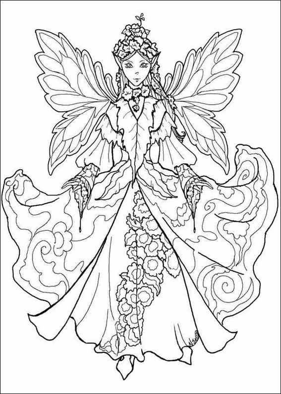 Christmassy Winter Fairy To Print And Color Fairy Coloring Pages