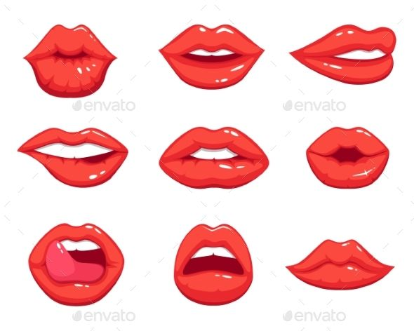 Makeup Illustrations In Cartoon Style Beautiful Lips