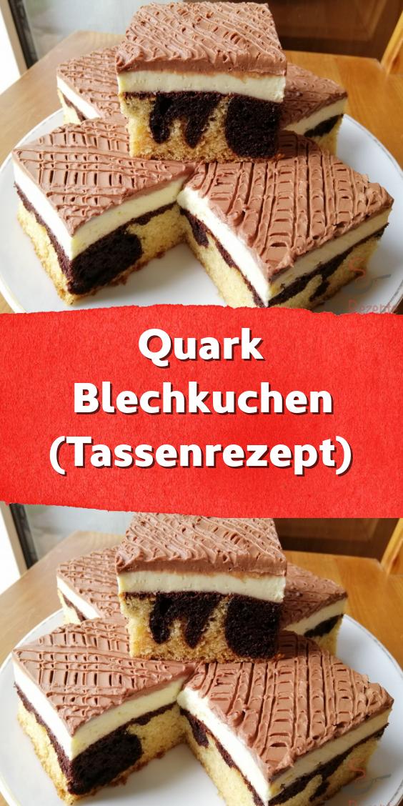 Quark Blechkuchen (Tassenrezept)