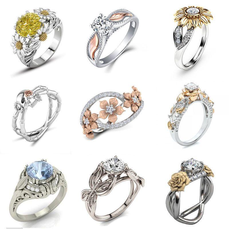 Fashion 925 Silver Ring Sapphire White Topaz Women Wedding Engagement Jewelry