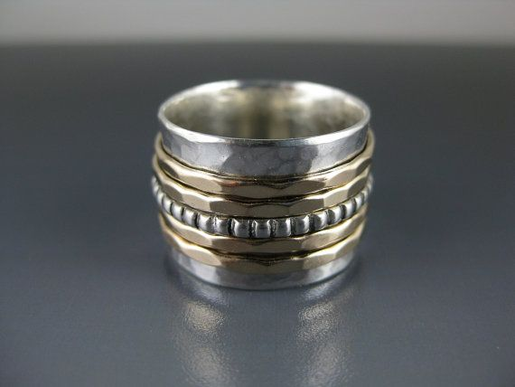 Silver spinner ring with five spinners spinner ring meditation