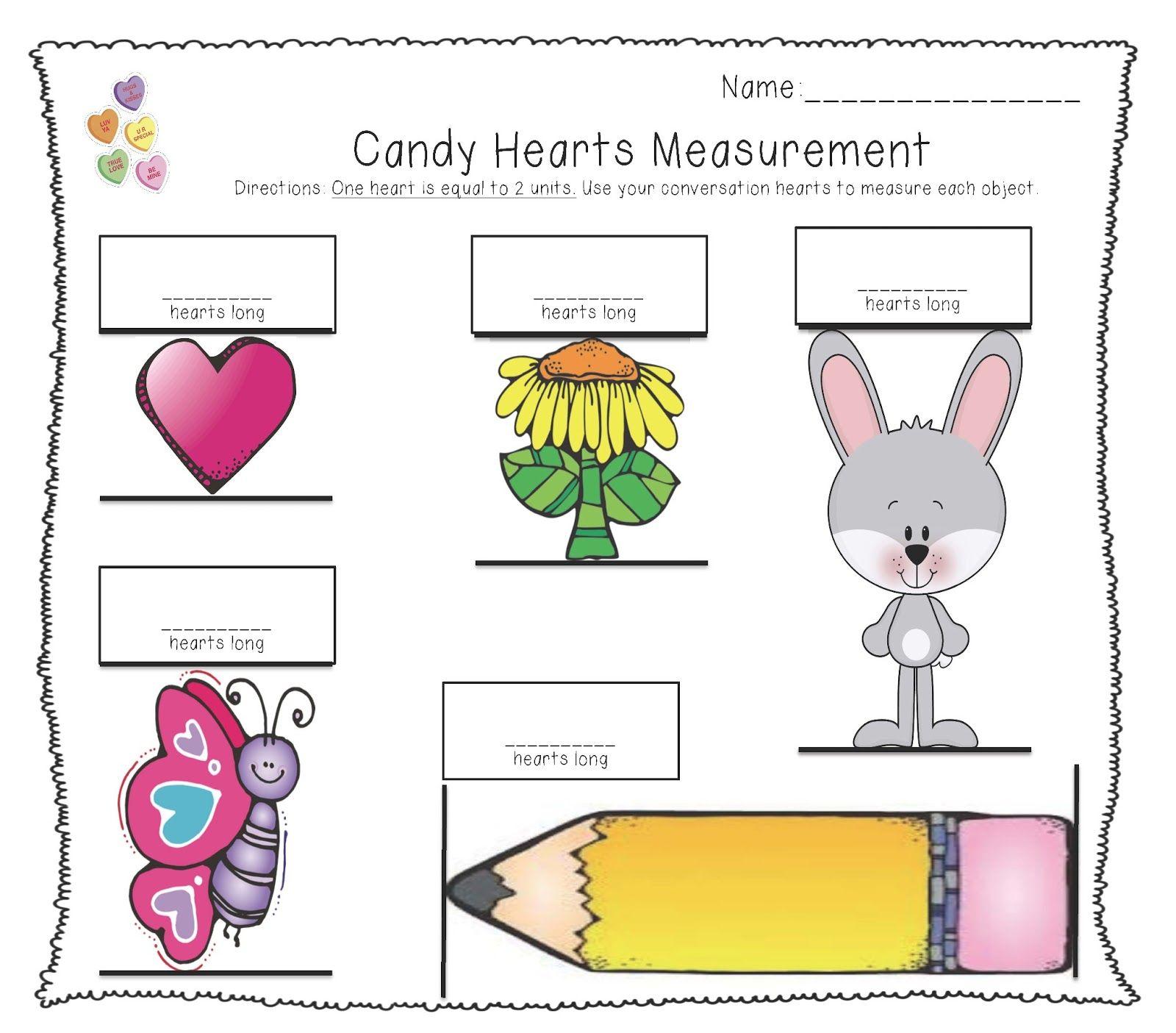Conversation Heart Measurement Measurement Kindergarten