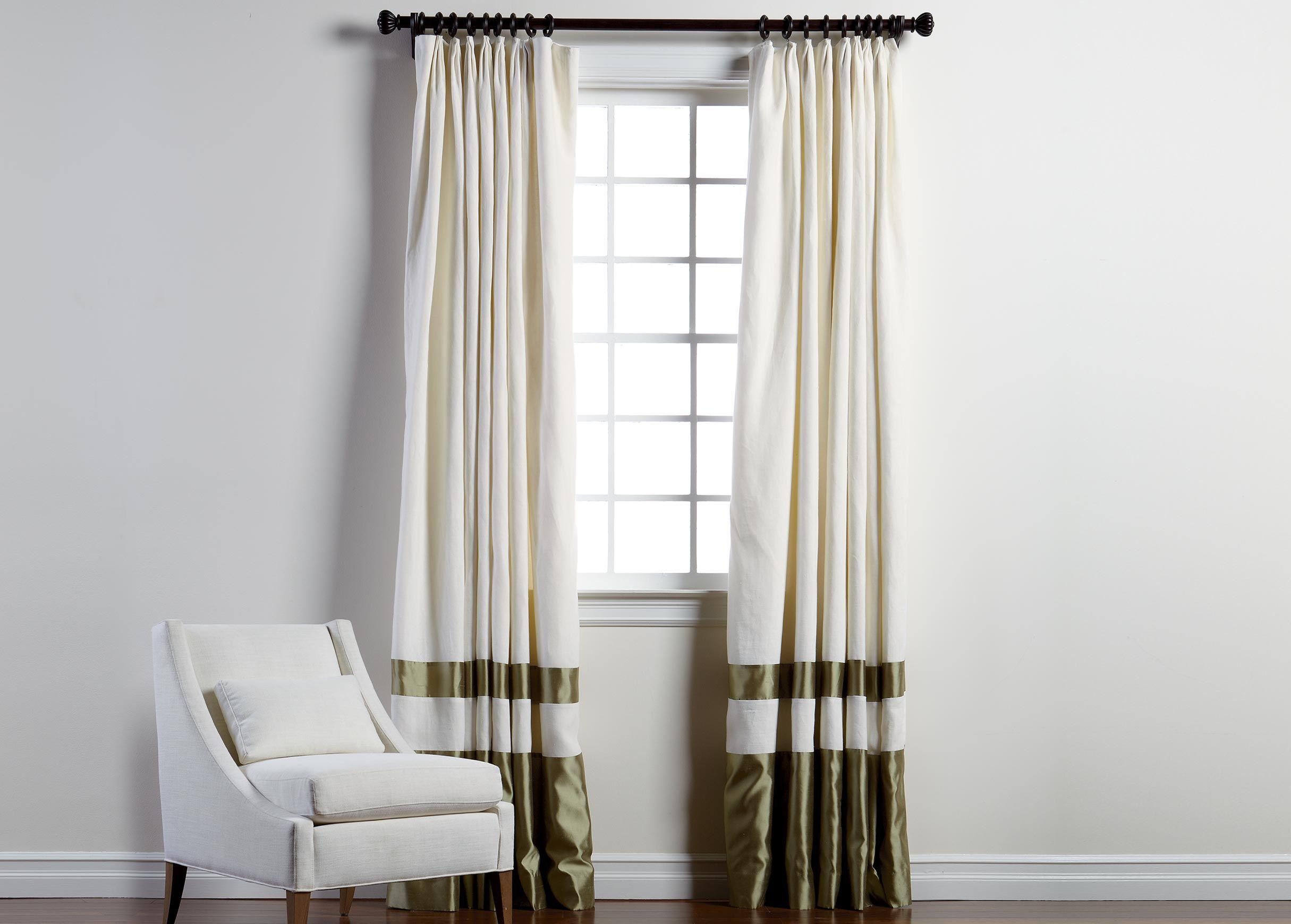 Ivory Sayre Linen Pinch Pleat Panel With Celadon Border Linen