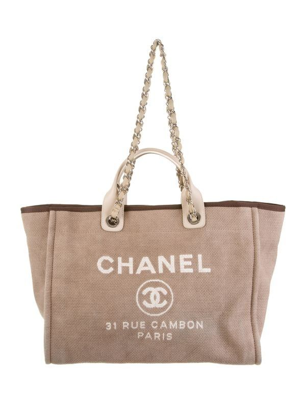 Chanel Large Deauville Tote Shopping Chanel, Brown Canvas, Designer Handbags  On Sale, Leather 5014c3d3c4