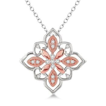 Lovebright 14K White and Rose Gold .20 Ctw Round Cut Diamond Pendant with Chain