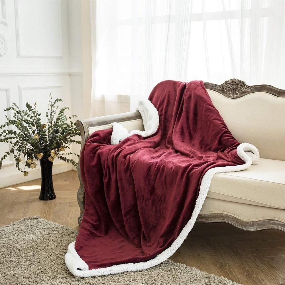 Details About Soft Sofa Bed Throw Blanket Reversible Fleece Sherpa