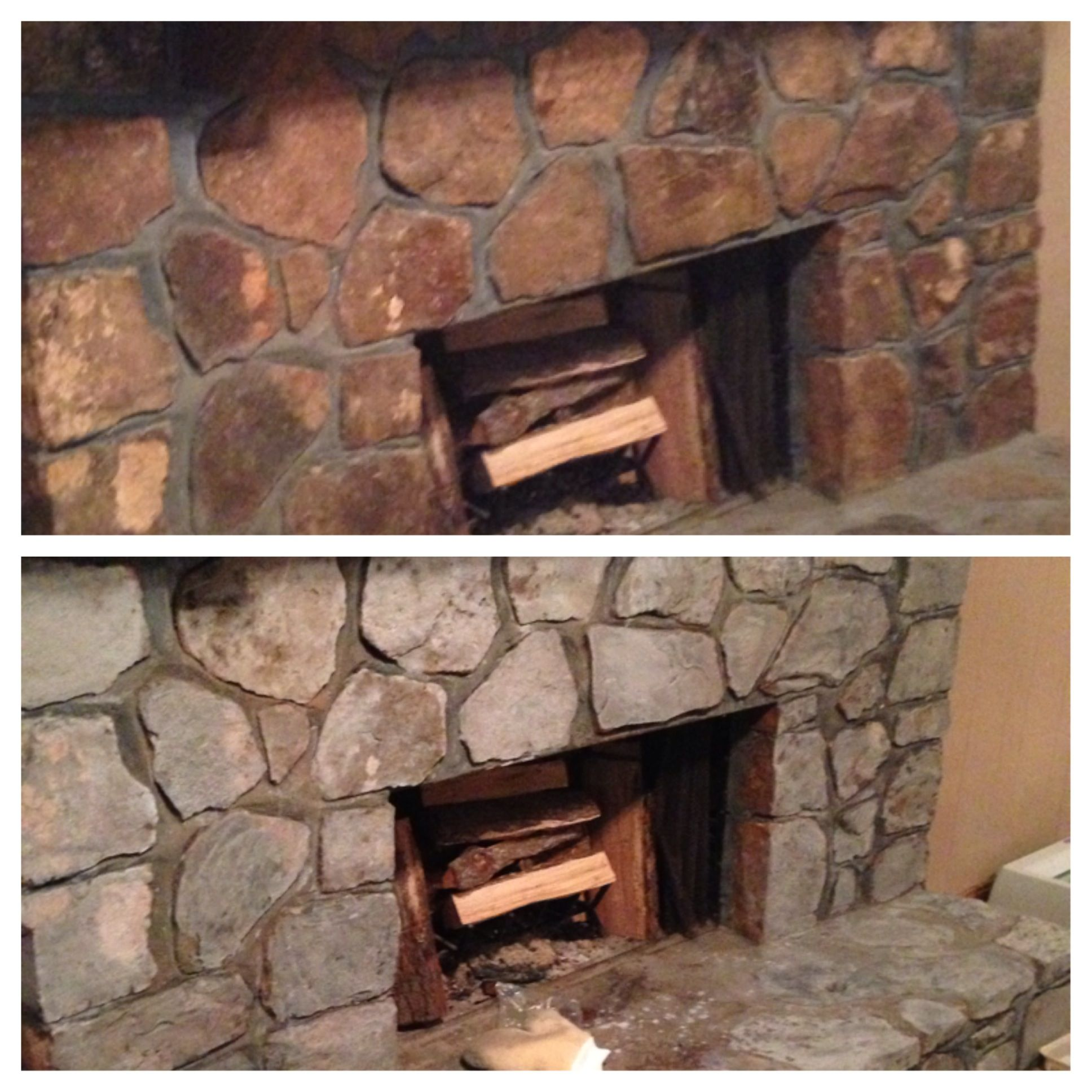 diy painted rock fireplace i updated our rock fireplace last