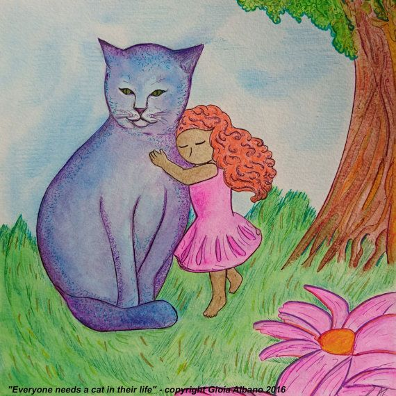 Child image.Cat image.Blue cat.Violet cat.Ginger girl.Small painting.Fantasy…