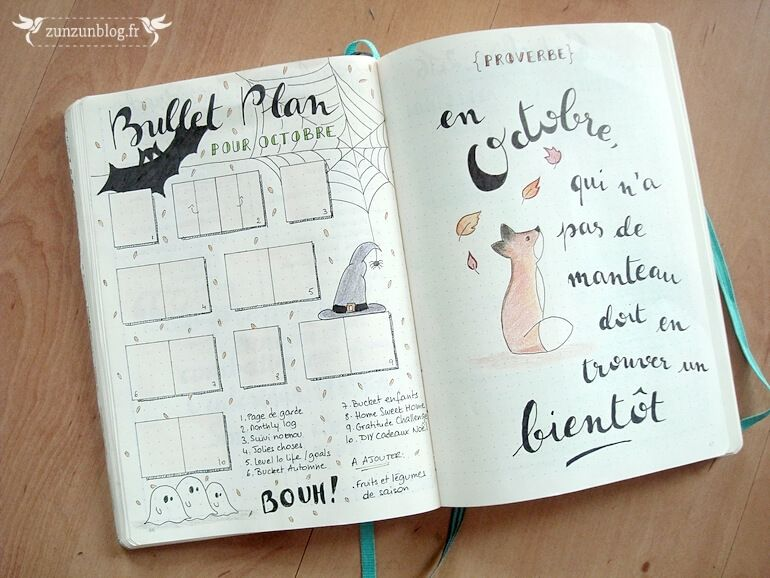 Bullet journal octobre par pinteres - Idee tracker bullet journal ...