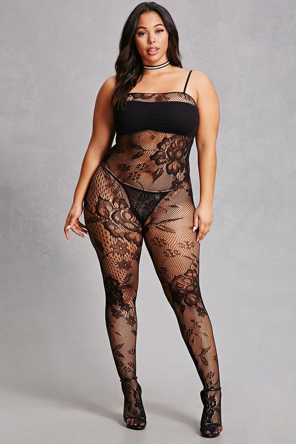 f42509ae136 Plus size lingerie fishnet jumpsuit
