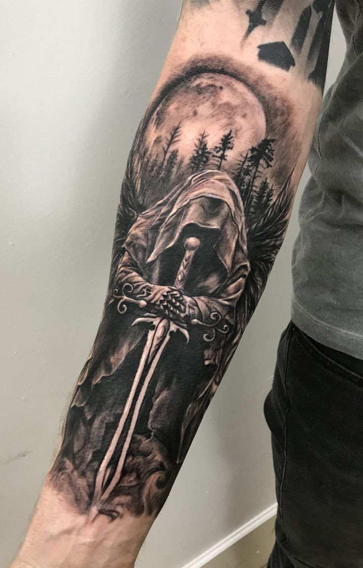 Warrior Angel Tattoo By Stefan Limited Availabili Angel Availabili Limited Stefan Ta Hand Tattoos For Guys Skull Sleeve Tattoos Cool Forearm Tattoos