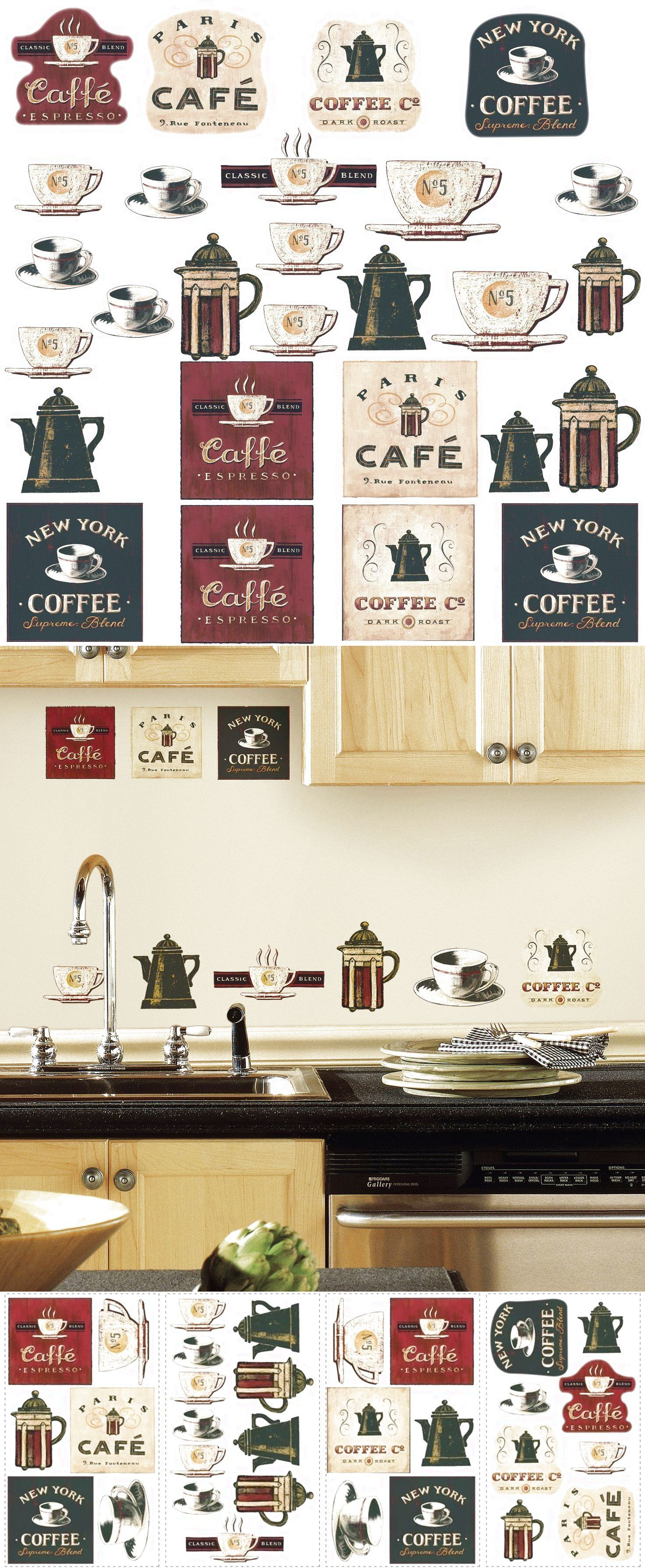 Coffee house big wall stickers room decor kitchen labels cups pot