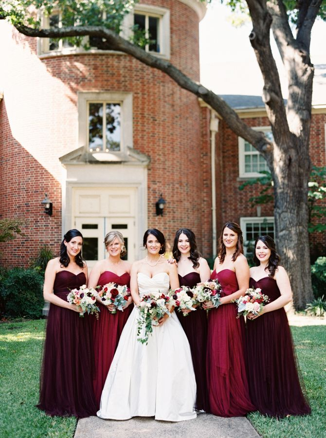 Mismatched burgundy and dark red bridesmaid dresses