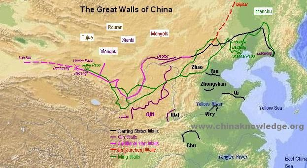 Map of China s Great Wall China Pinterest