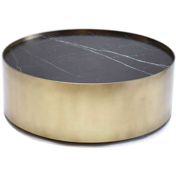 Kelly Wearstler Brass And Black Marble Drum Coffee Table 14 500
